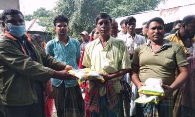 টুঙ্গিপাড়ায় কৃষকদের মাঝে বিনামূল্যে ধান বীজ বিতরণ
